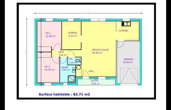 maison plain pied 2 chambres, Bureau,