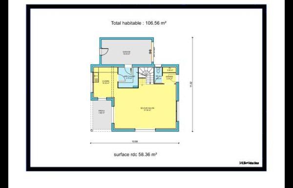 maison à étage 3 chambres