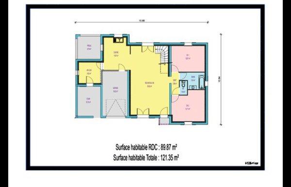 maison à étage 3 chambres, Sellier, Préau