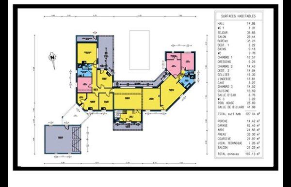 maison à étage 3 chambres, dressing, bureau